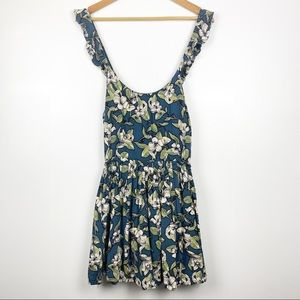 FREE PEOPLE | Blue & Green Floral Tank Dress | S